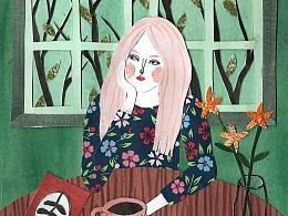 Coffee Girl 拼贴