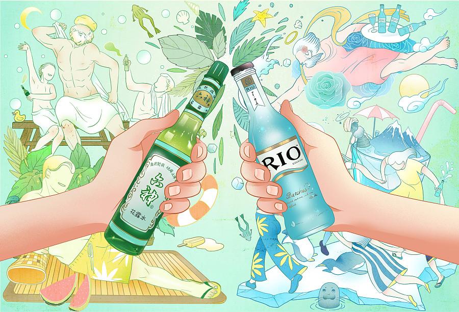 查看《#六神风味鸡尾酒#天猫活动海报插画》原图,原图尺寸:1764x1200
