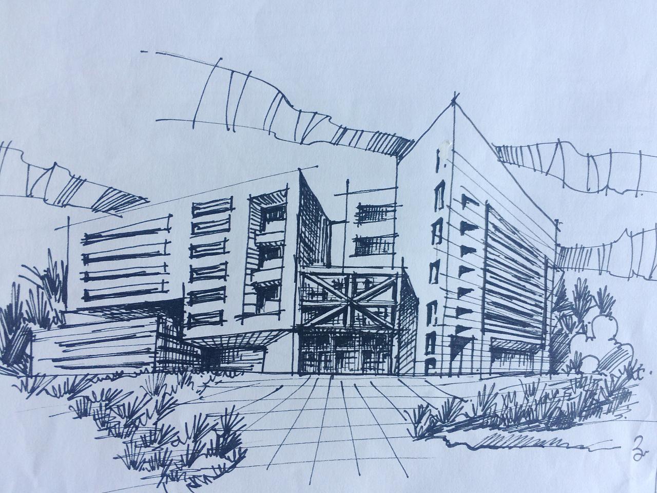 建筑设计 手绘 钢笔 马克笔 |空间|建筑设计|gary图片