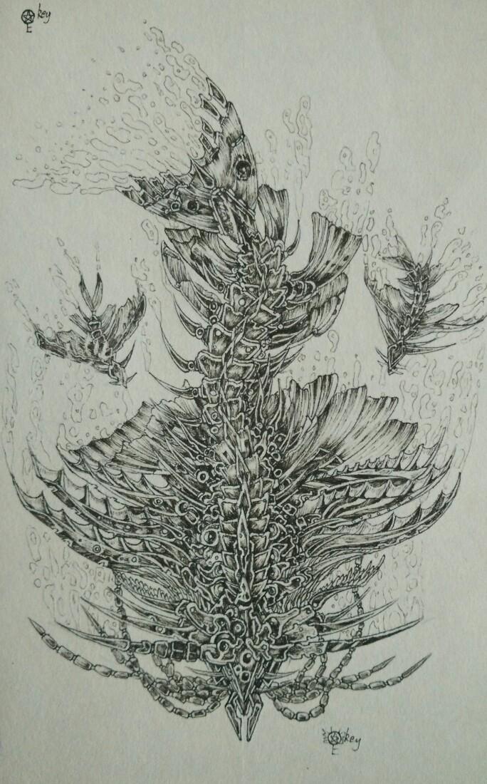 骨鱼 黑白装饰画图片
