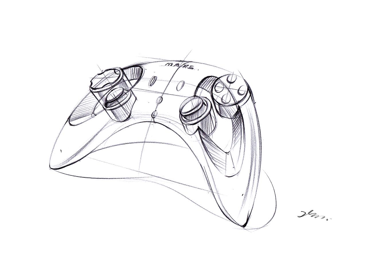 游戏手柄手绘步骤图——马赛mars产品手绘|工业/产品