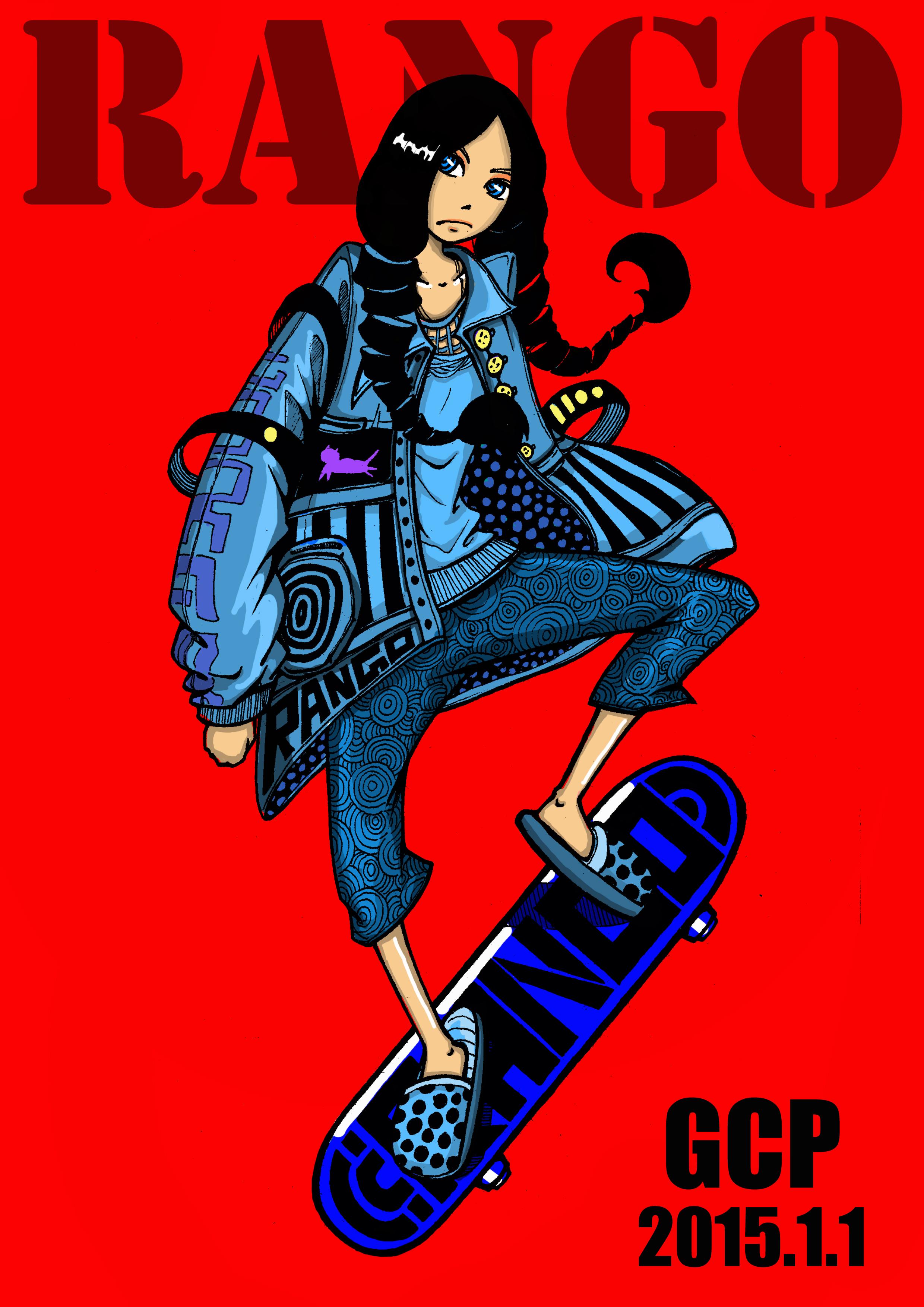 滑板rango,手绘线稿,ps上个色
