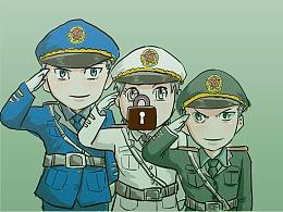 涂鸦军旅主题图标