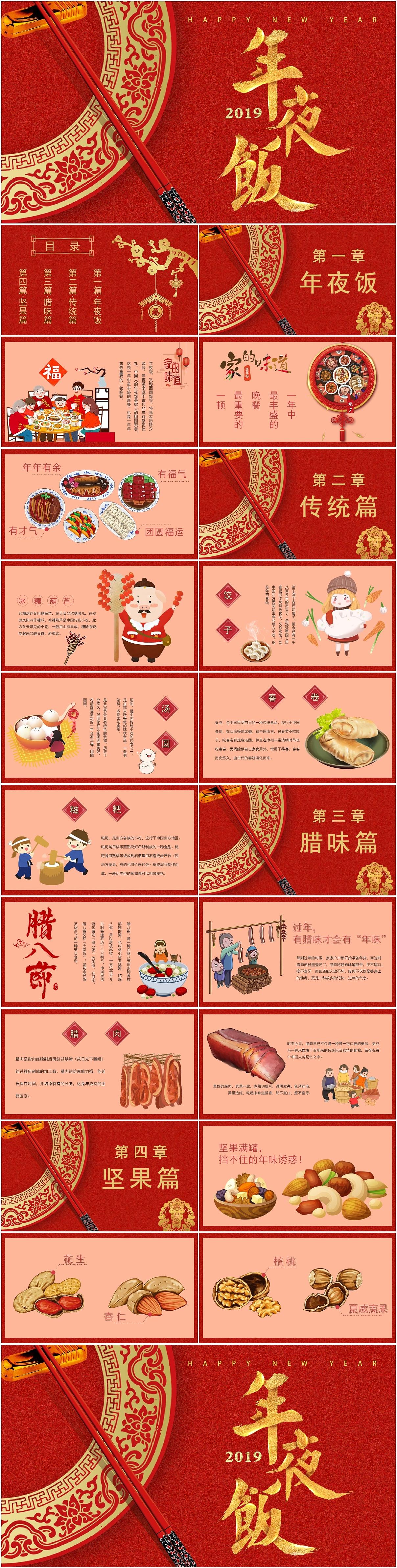 欢乐中国年温馨过春节年夜饭民俗美食介绍ppt模板图片