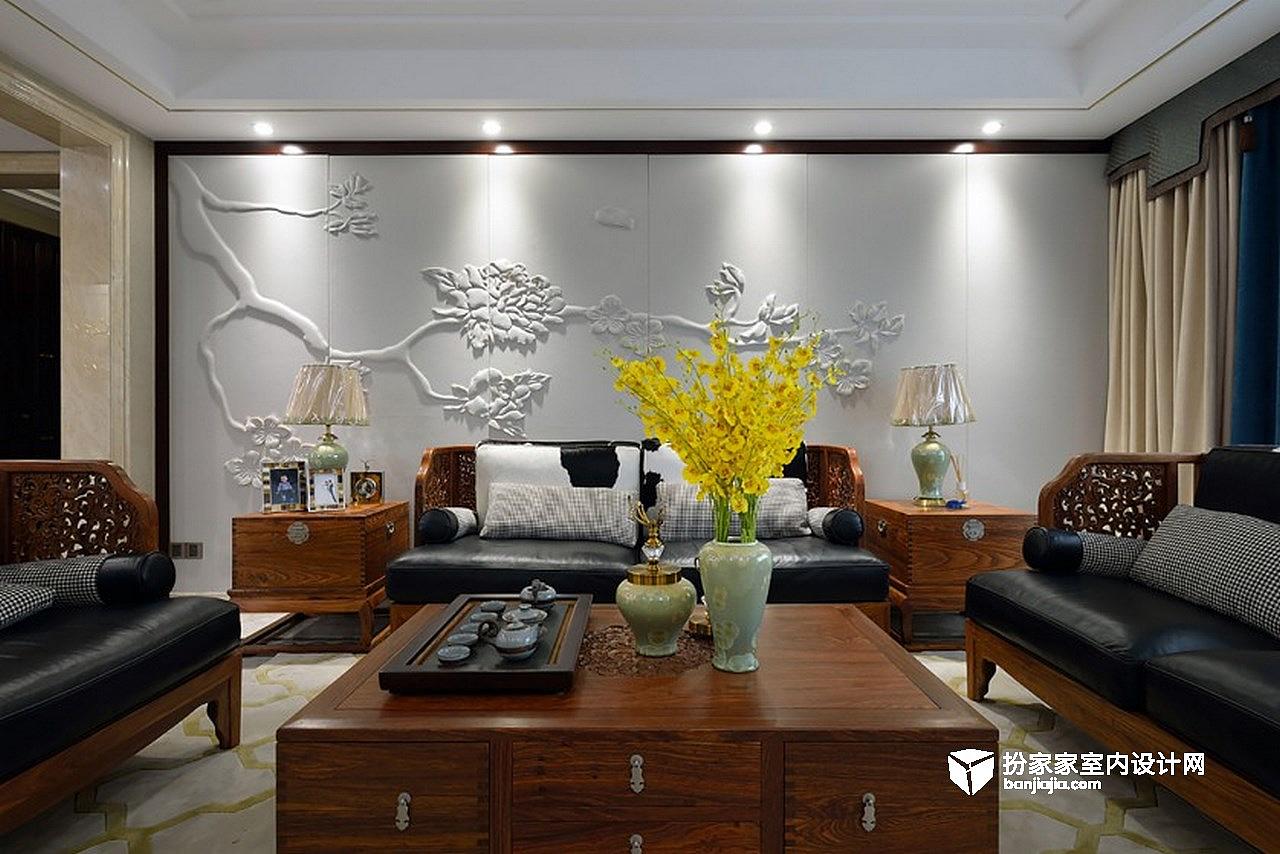 软包沙发背景,简单明快的的装饰线条结合中式家具,传达不一样的新中式图片
