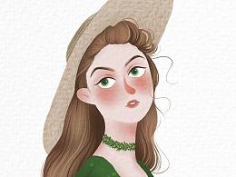 带帽子的女人