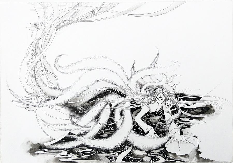 狐铅笔手绘