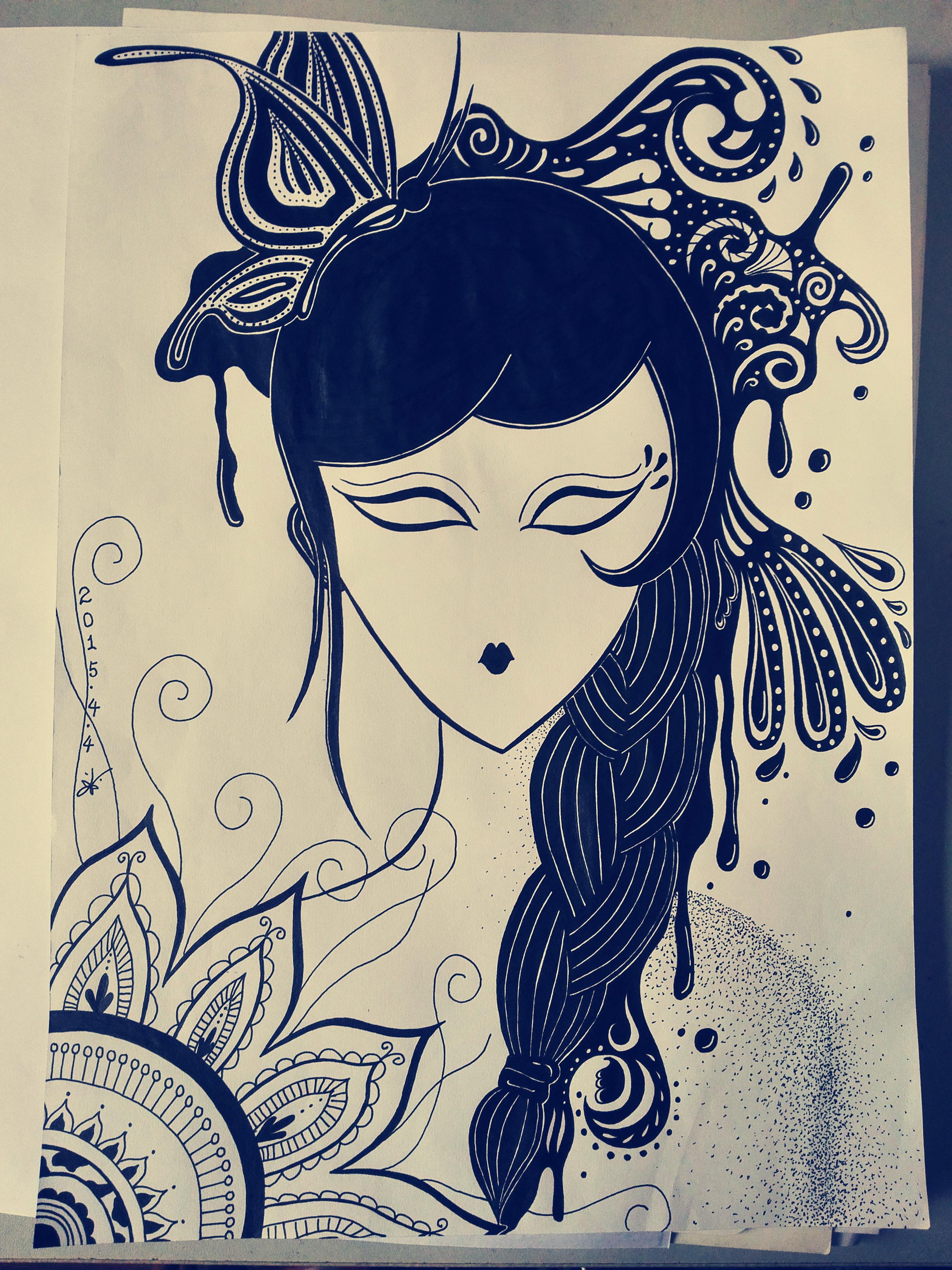 女孩 黑白装饰画