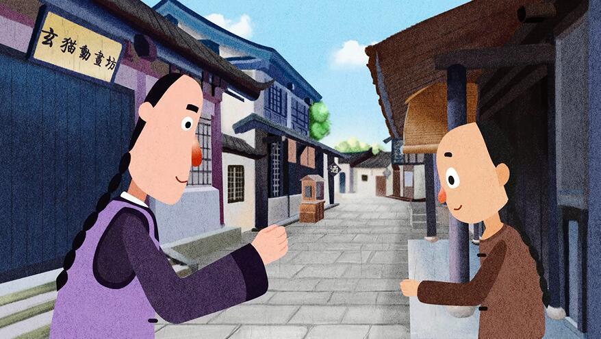 古风mg动画手绘动画传统的街道古典的人物