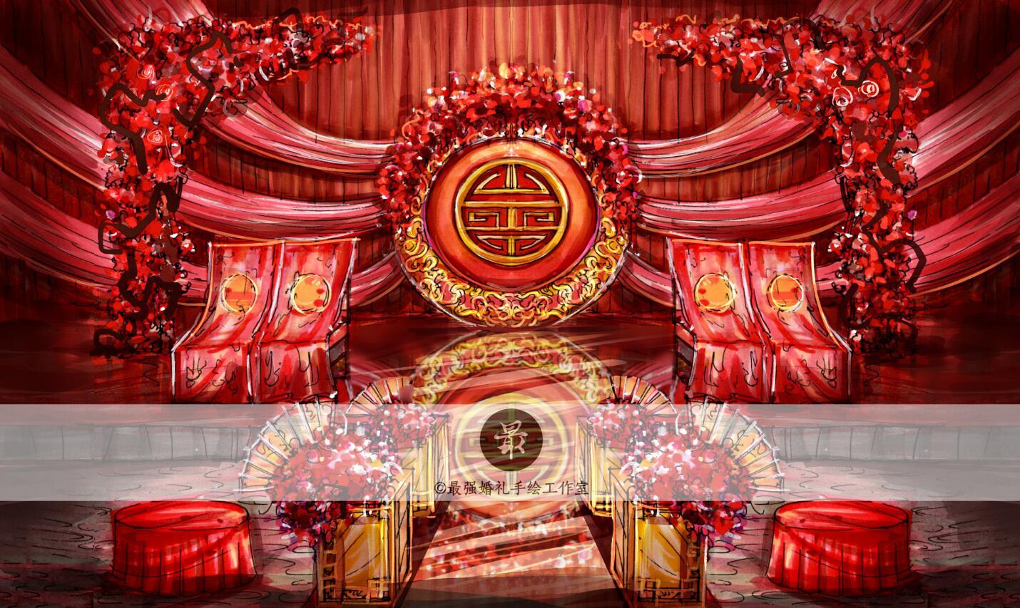 【婚礼手绘】纸面手绘—中式主舞台