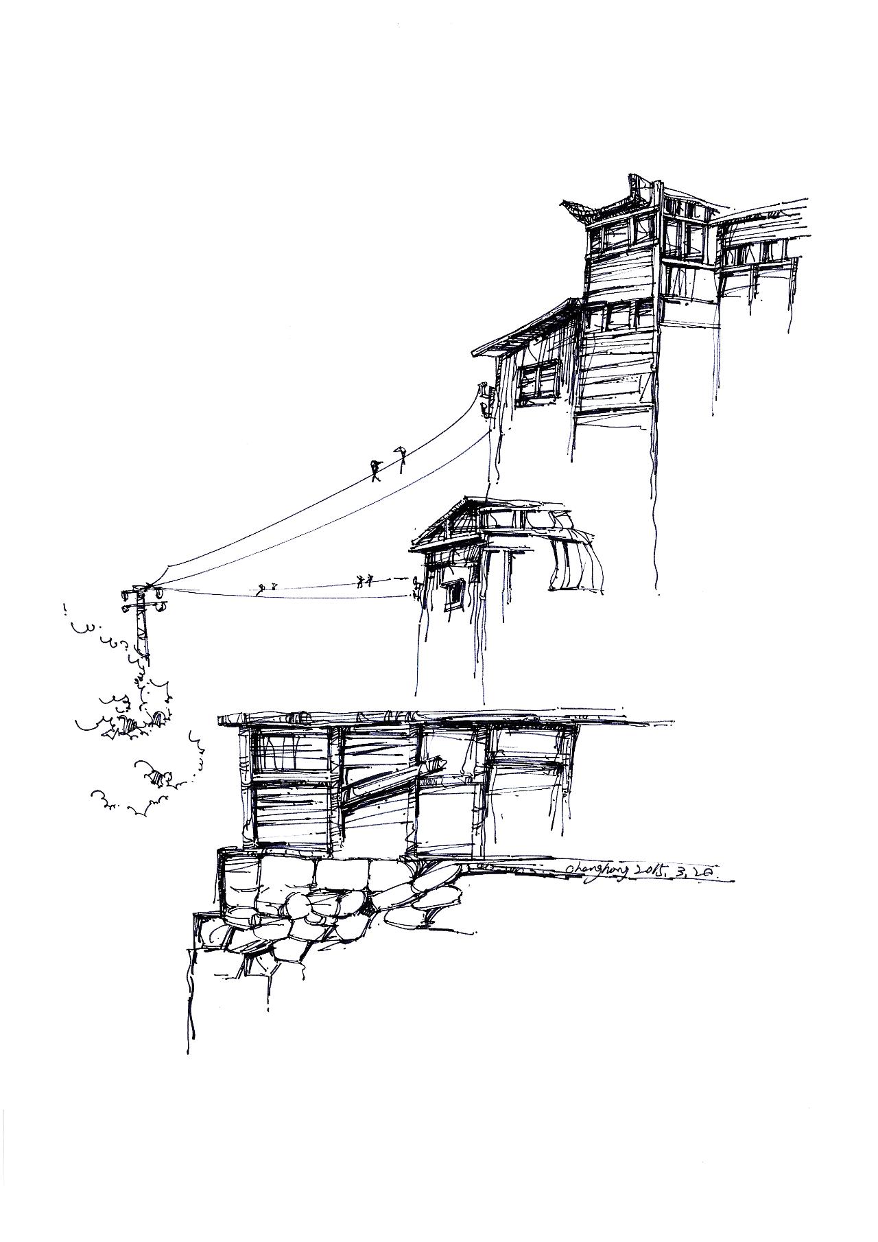 建筑手绘 纯艺术 钢笔画 大宏与小纯 - 原创作品