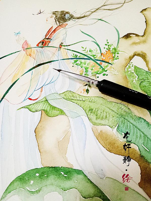 古风水彩手绘|插画|商业插画|龙轩静 - 原创作品