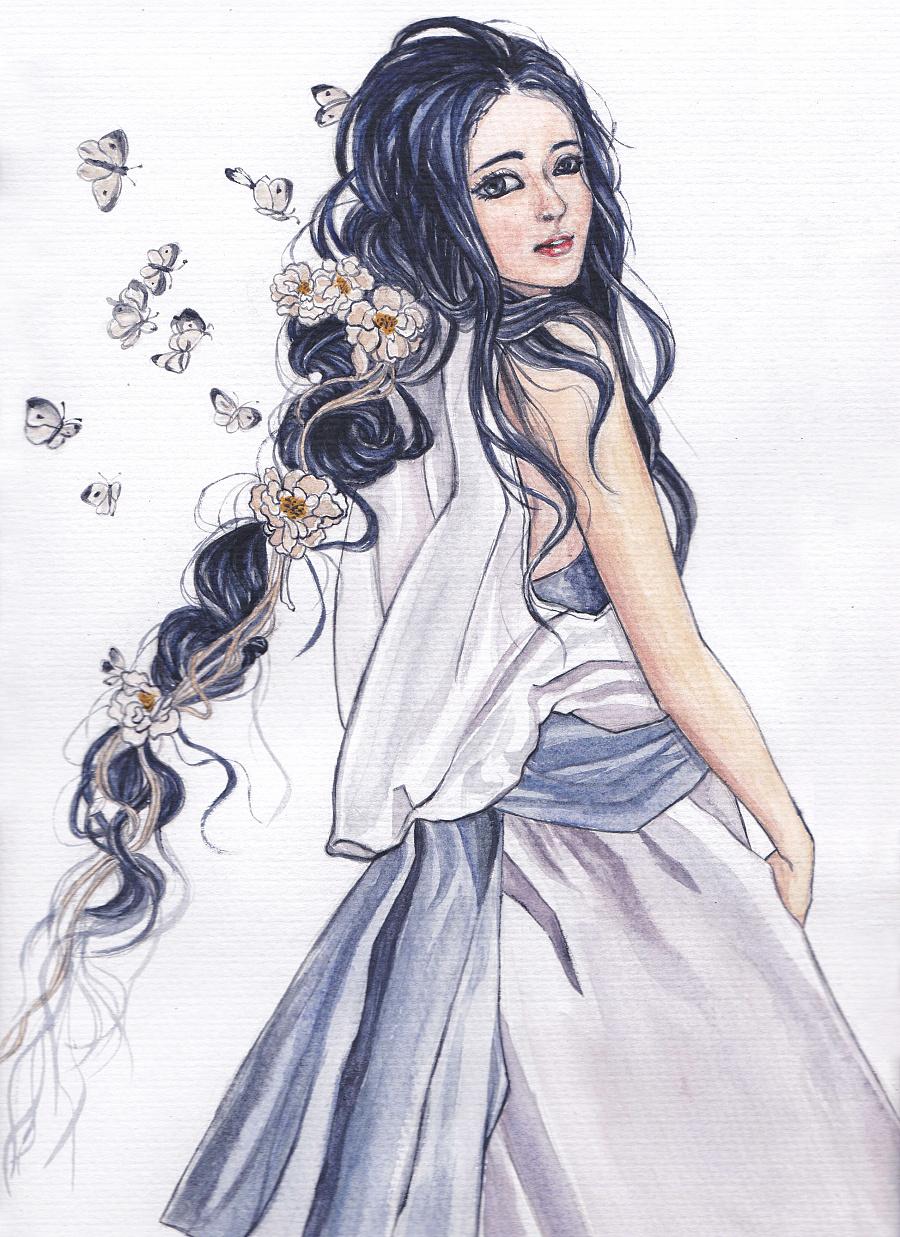 原创作品:水彩画美少女