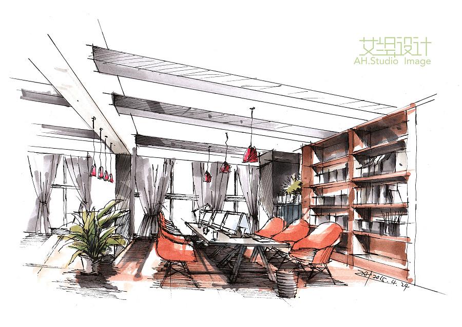 办公空间设计手绘表现步骤|室内设计|空间|画手绘的慧