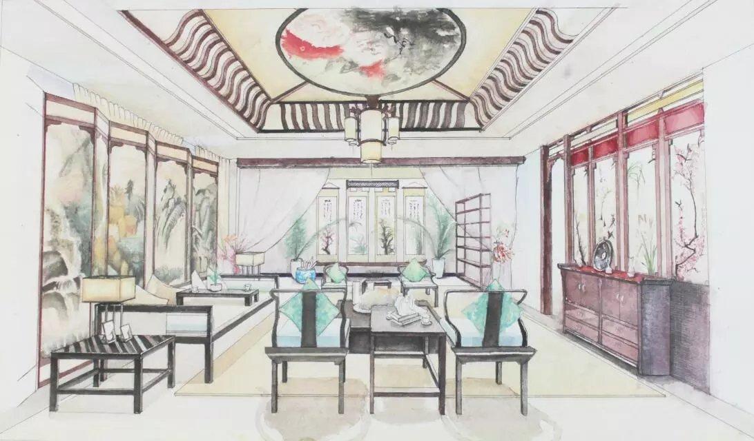 中式室内手绘|空间|室内设计|羽离子 - 原创作品