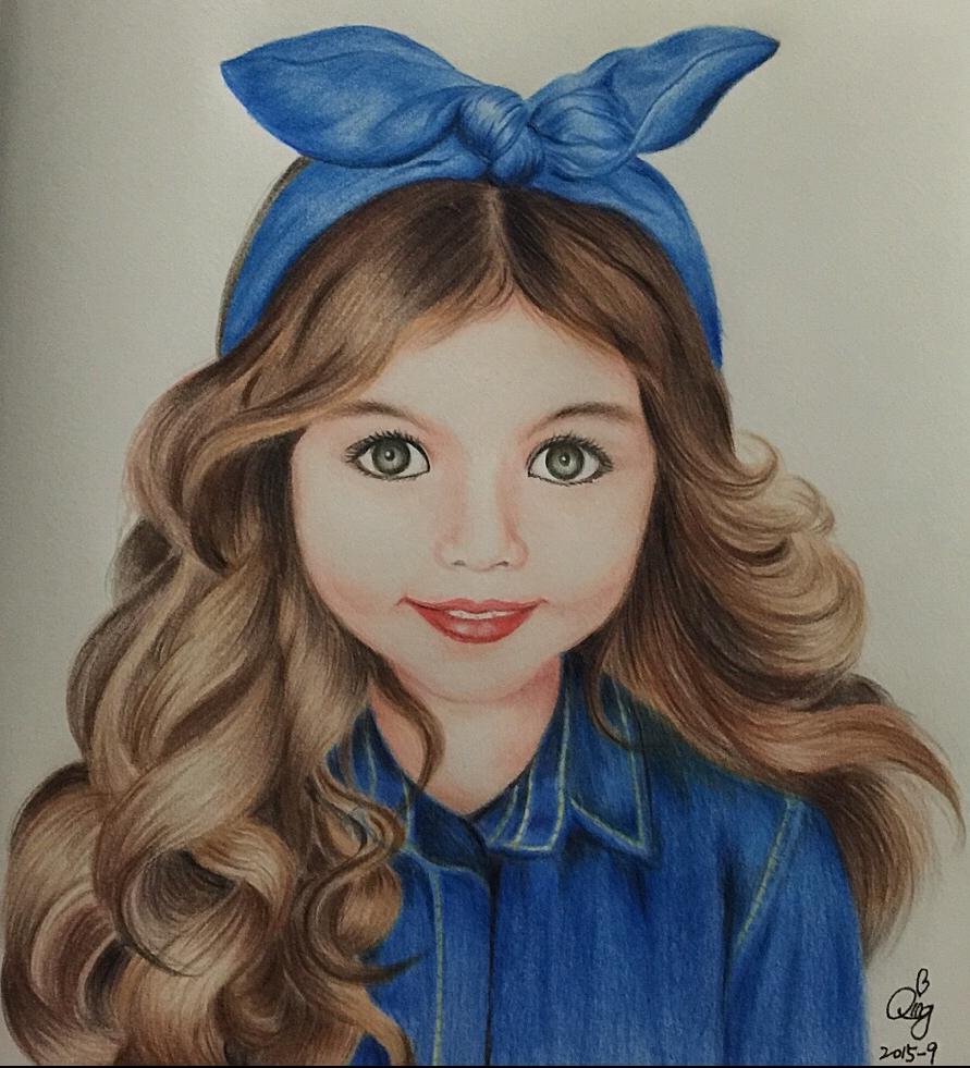 彩铅 小女孩 绘画习作 插画 lyqing