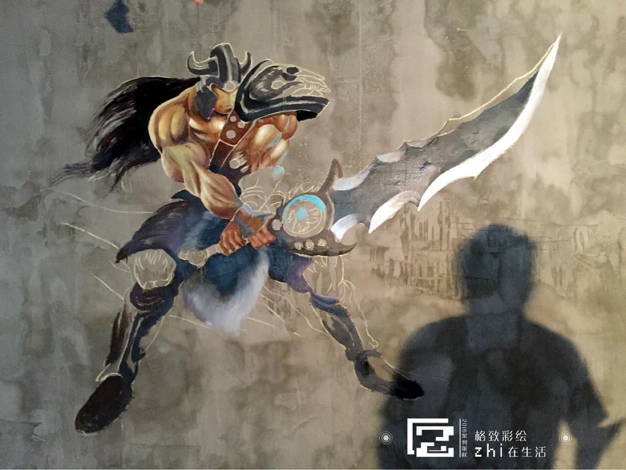 网吧墙绘,英雄联盟人物,3d壁画.