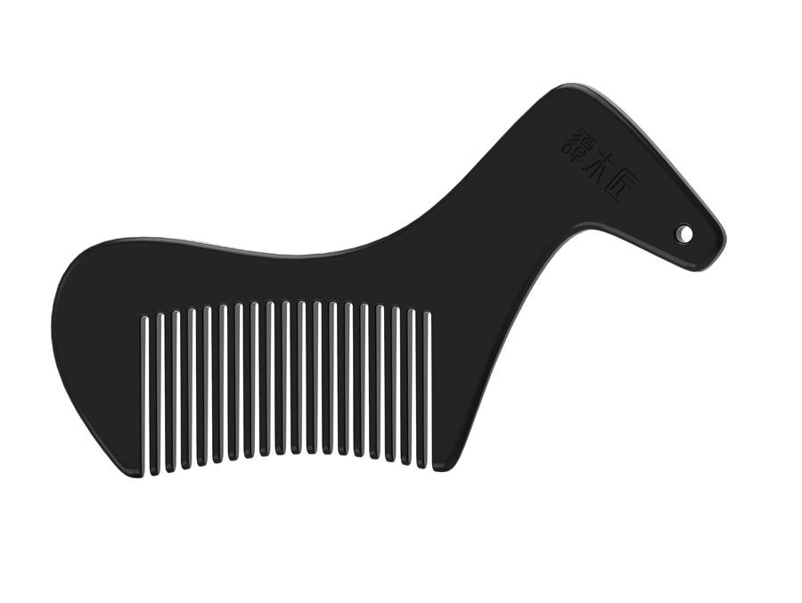 设计灵感来源于马背和鱼尾优美的的曲线造型,使木梳给人一种顺滑的图片