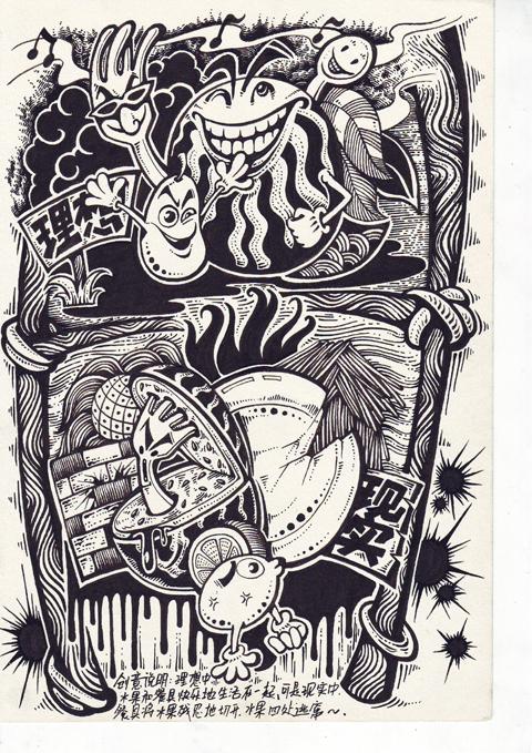 即将出版的个人教程新书——《创意速写酷》的画稿图片