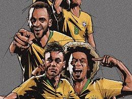 转转与巴西足协合作的几张世界杯主题插画