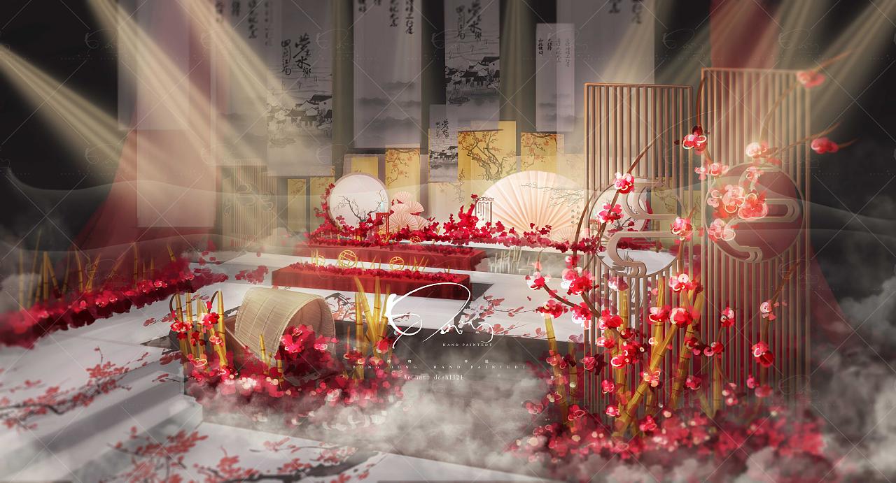 咚咚婚礼手绘作品欣赏|空间|舞台美术|咚咚婚礼手绘