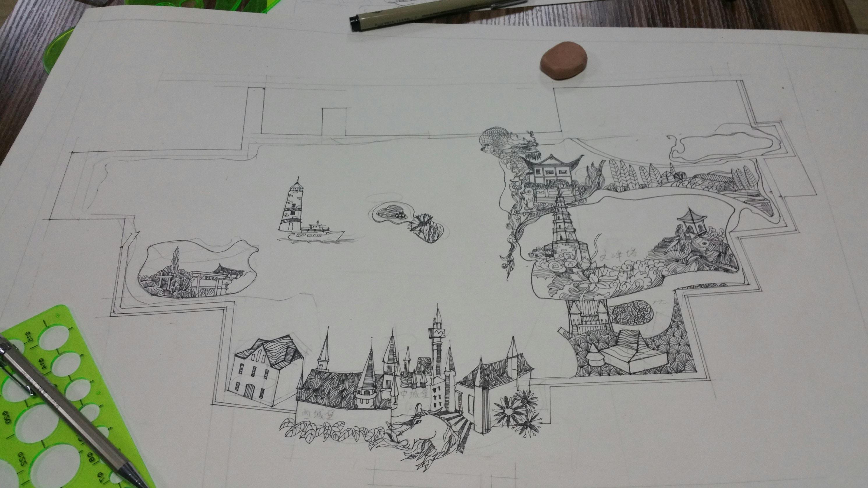 简单的手绘校园图片