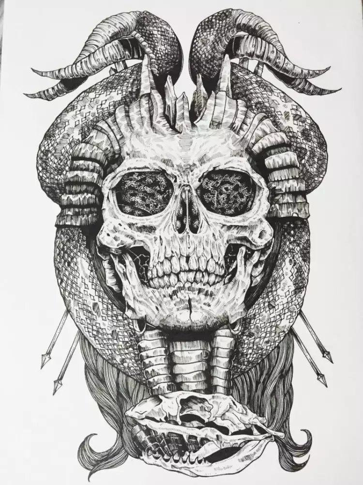 针管笔 黑白手绘|绘画习作|插画|以津真天