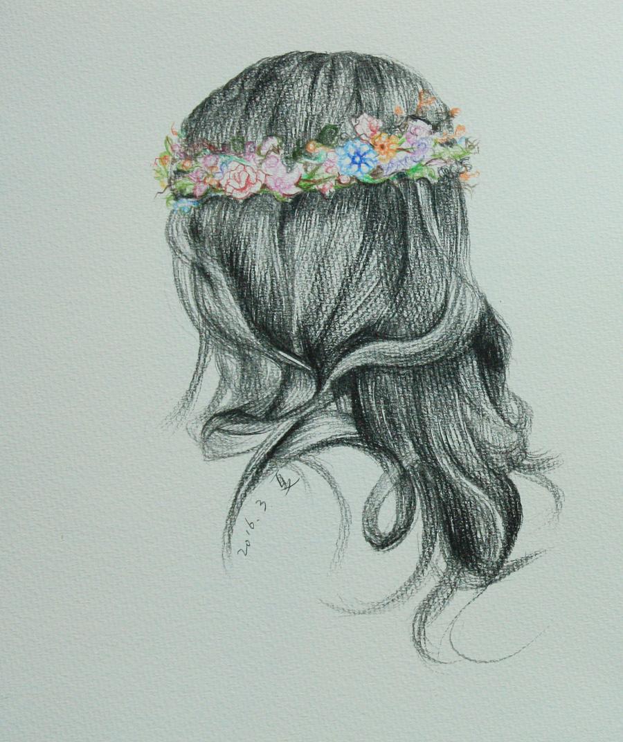 彩铅头发背影 绘画习作 插画 xiajue