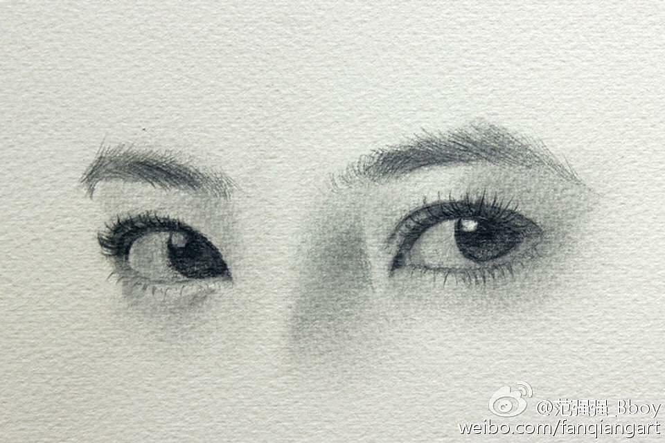 素描手绘《明星眼睛》|纯艺术|素描|范强强 - 原创