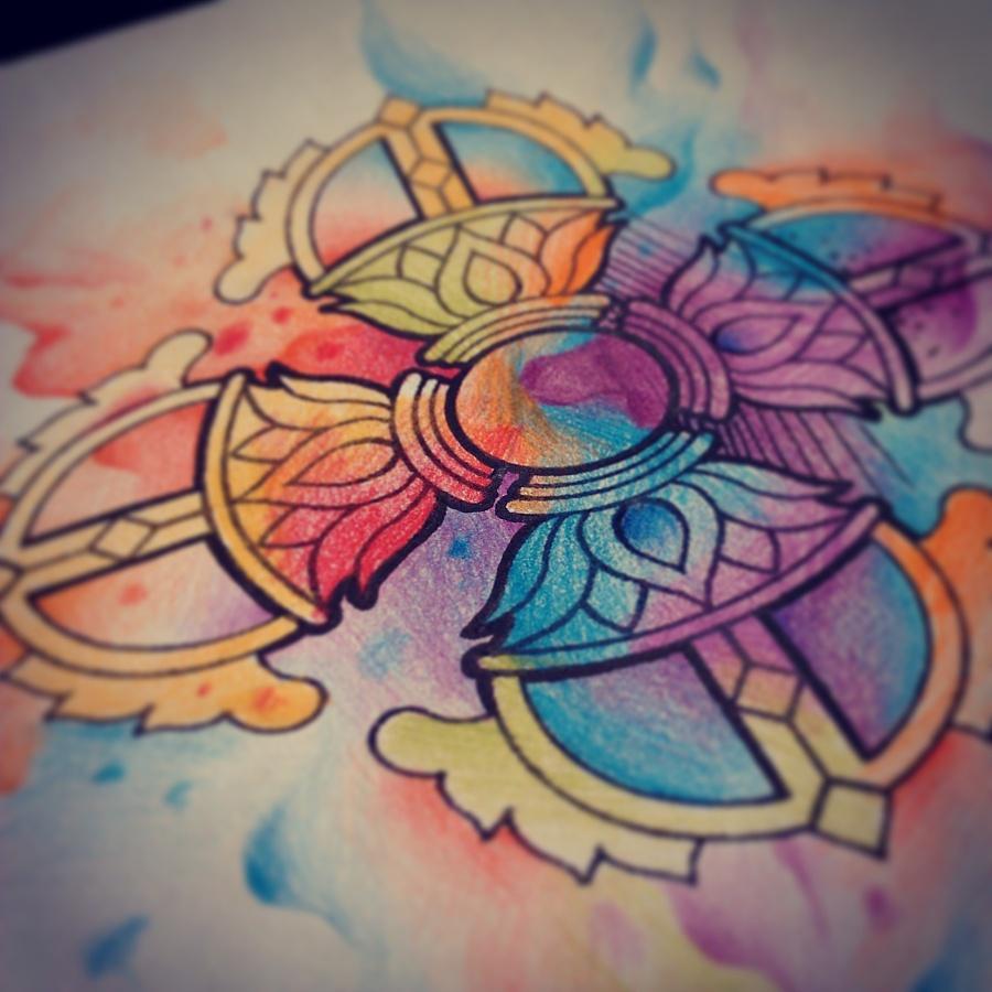 纹身手稿——水彩泼墨降魔杵