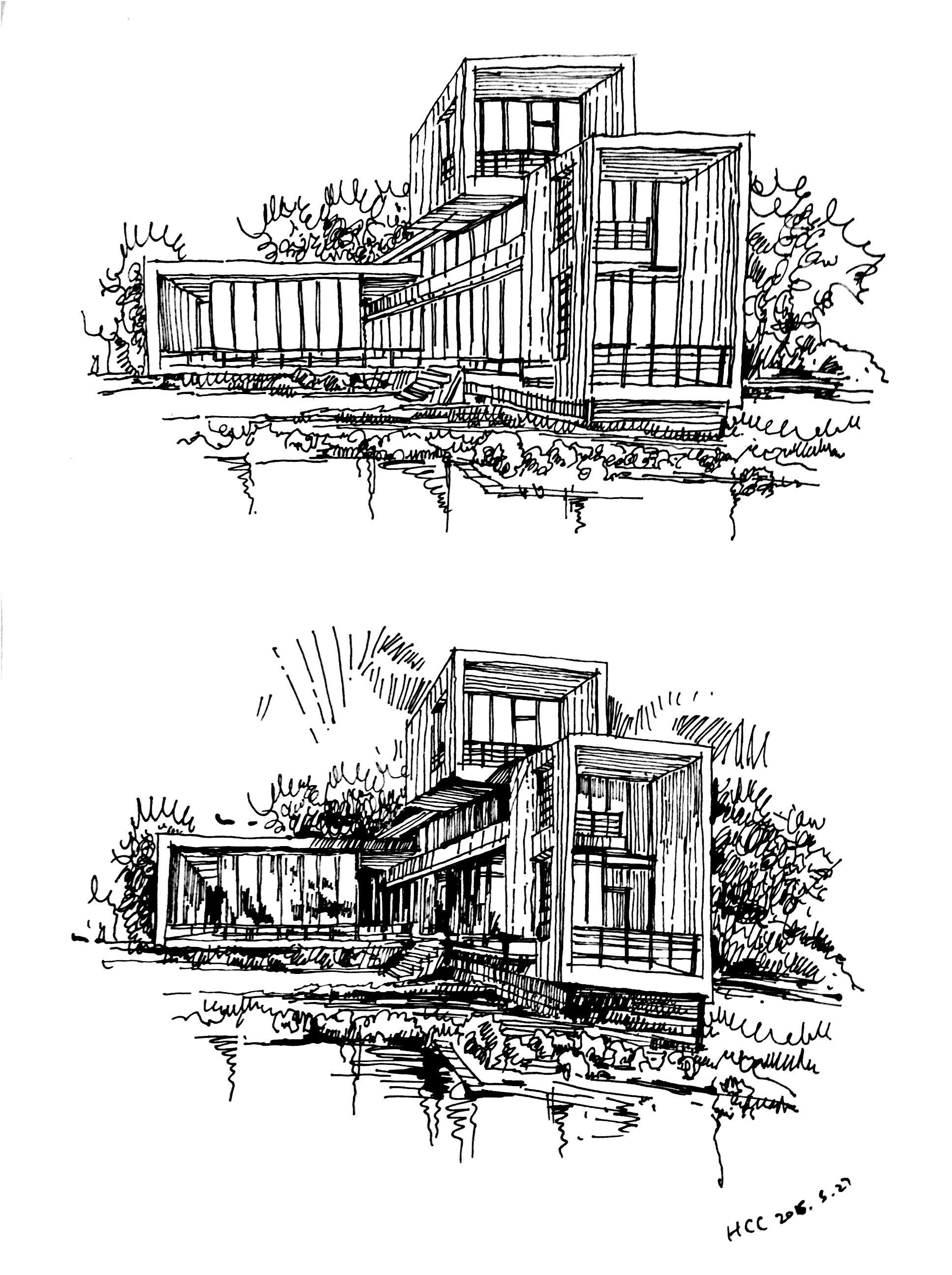 一些建筑画 钢笔画图片