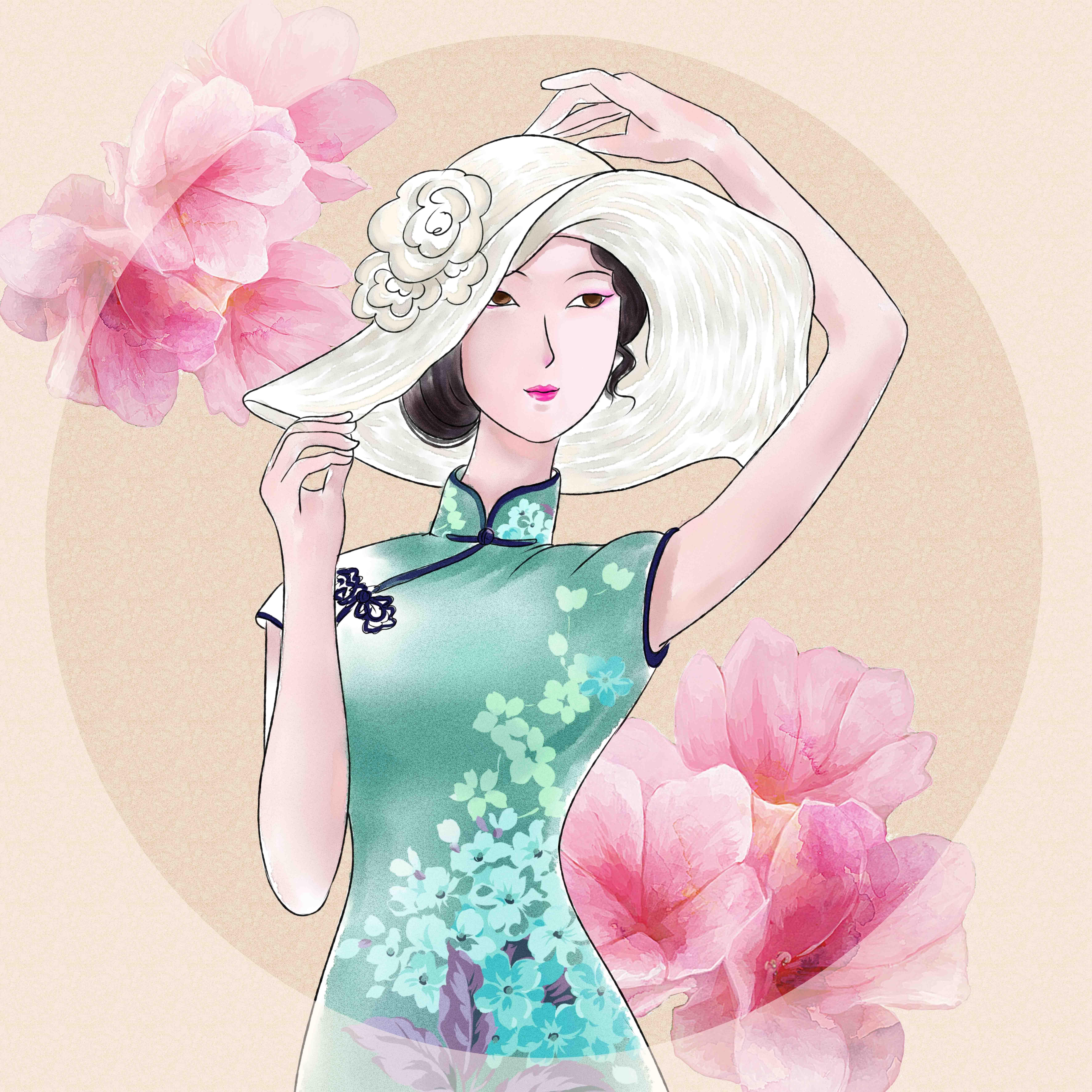 民国风美女插画手绘 图片合集