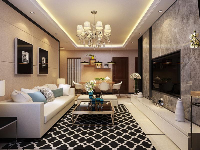 【石家庄阳光力天装饰】华宁春天现代简约二房风格二厅装修设计图片