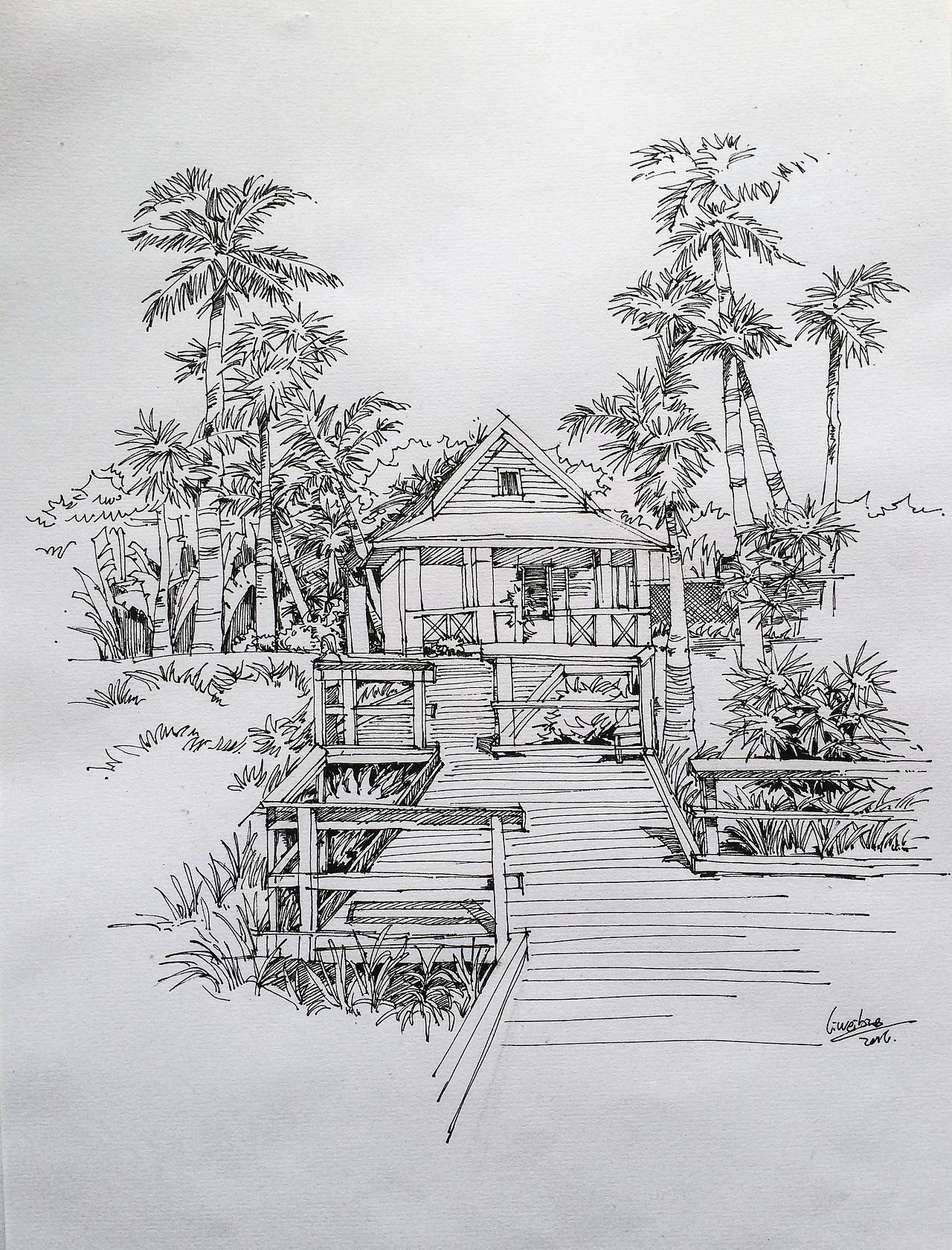 景观速写手绘图片-风景手绘速写_园林景观手绘线稿_高清景观速写手绘