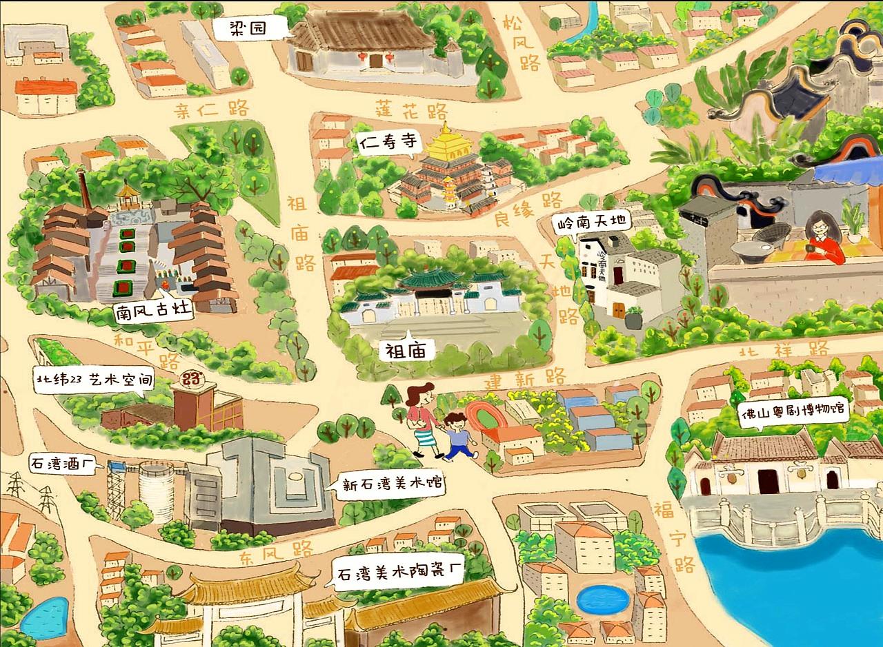 佛山博物馆地域文化手绘导览图
