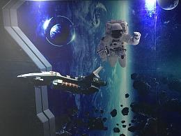 航天科技馆艺术科技呈现,结合3D壁画3D艺术馆科技互动