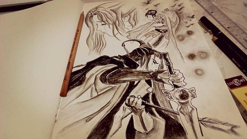 【原创】手绘古装插画《霸王别姬》
