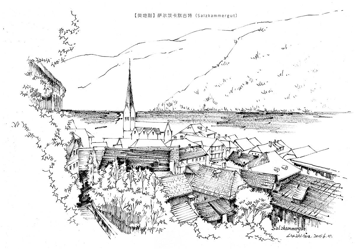 手绘欧洲风景-线稿