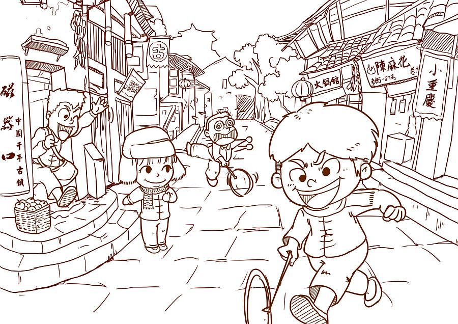 怀旧童年插画 商业插画 插画 鑫光小屋
