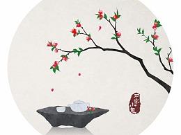 水墨中国风——竹间系列·海棠花开