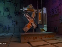 C4D 3D 姓名 金属字 机械字 立体 字