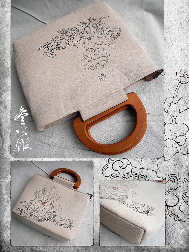 叁公馆·手绘棉麻包·莲