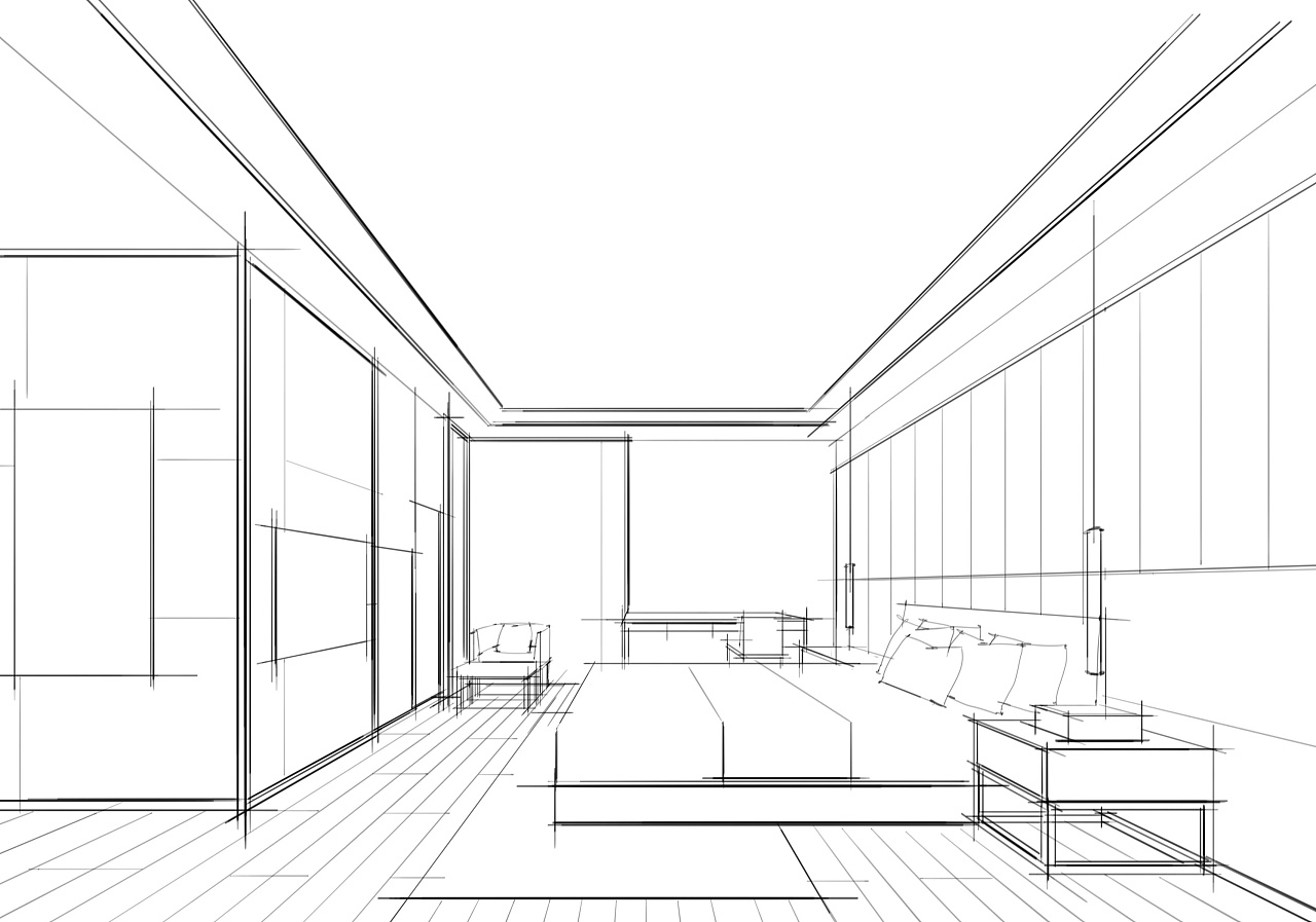 一组电脑手绘作品步骤图——别墅