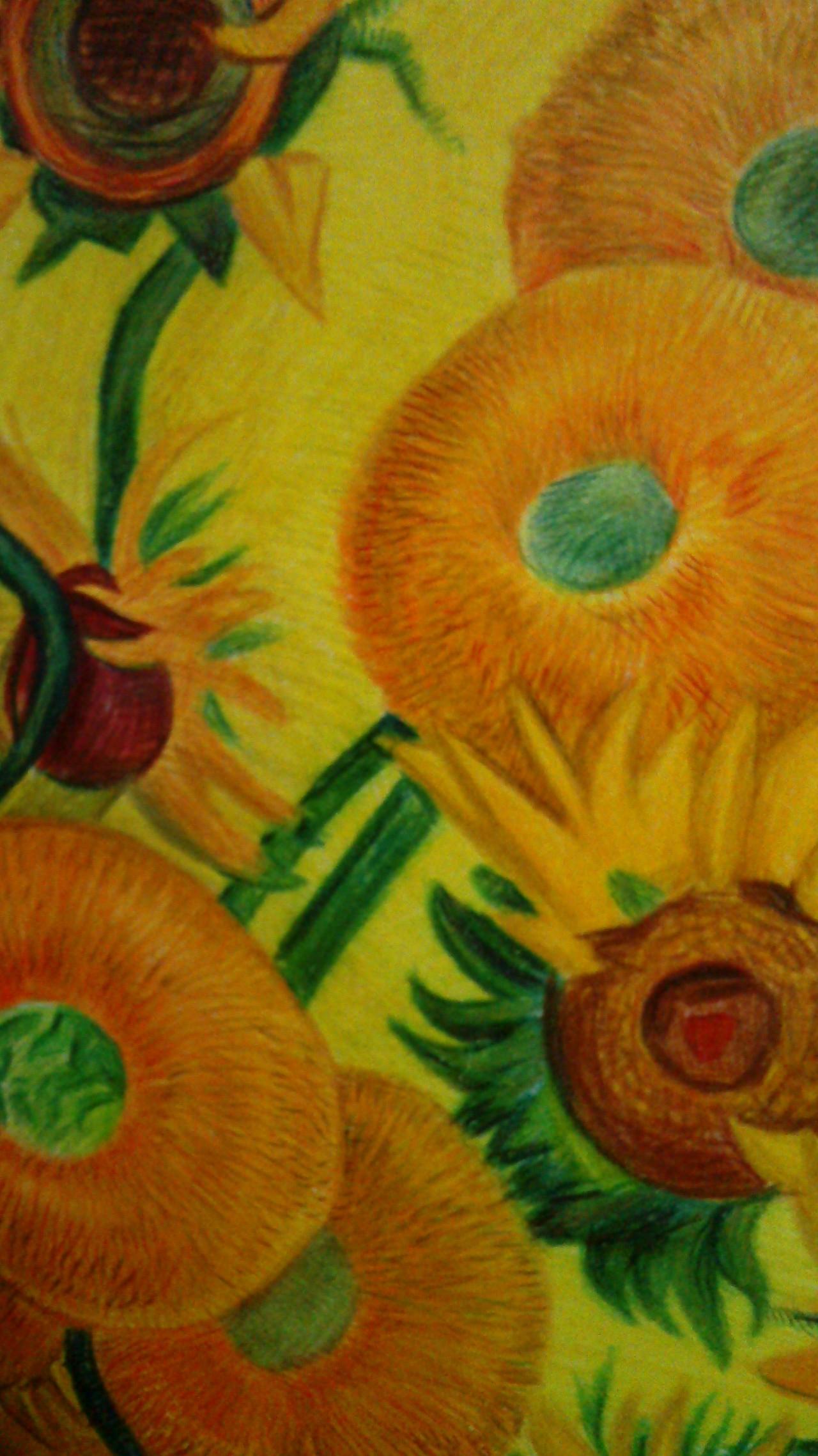 彩铅临摹梵高十五朵向日葵~|纯艺术|彩铅|叶汉要画画