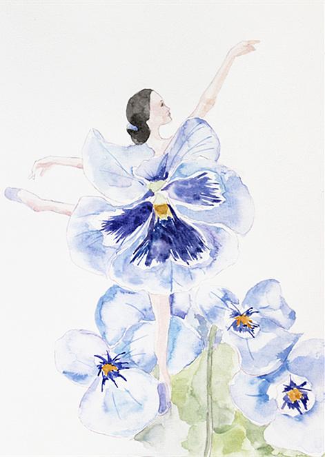 手绘水彩 花与少女