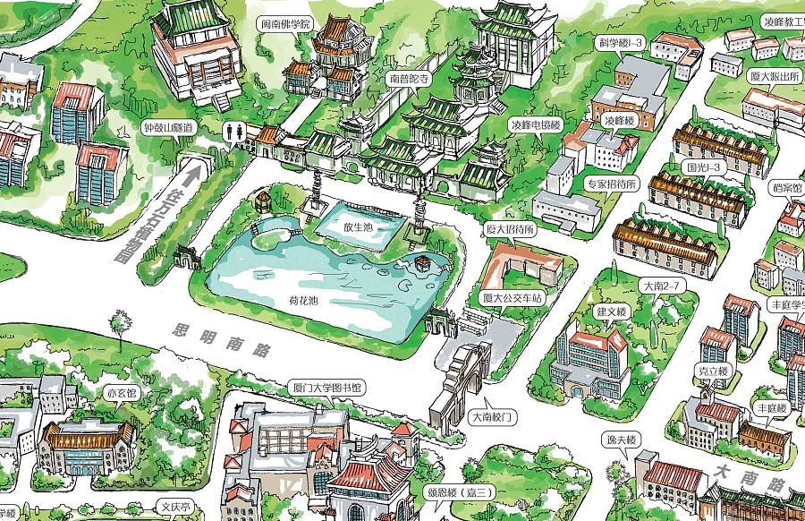 厦门大学手绘地图|商业插画|插画|荭翼