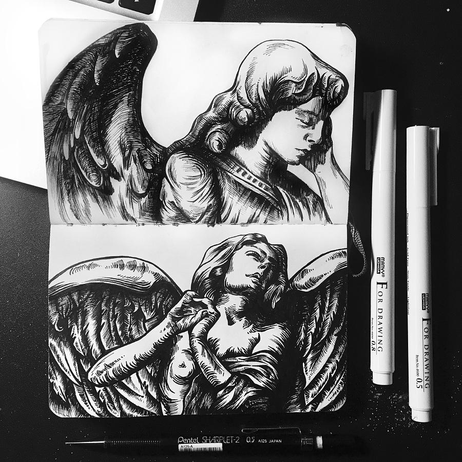 手绘女孩艺术素材欧美