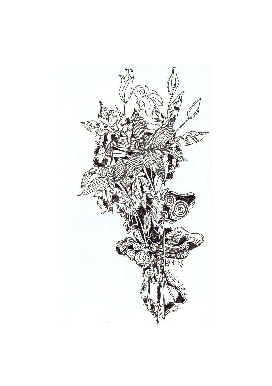 针管笔手绘豌豆公主