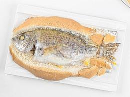极简美食拍摄-盐焗黄翅鱼