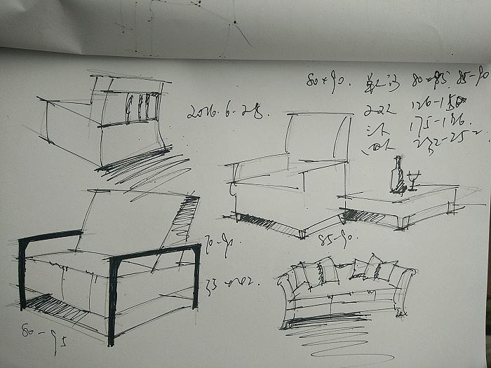原创作品:沙发单体线稿a